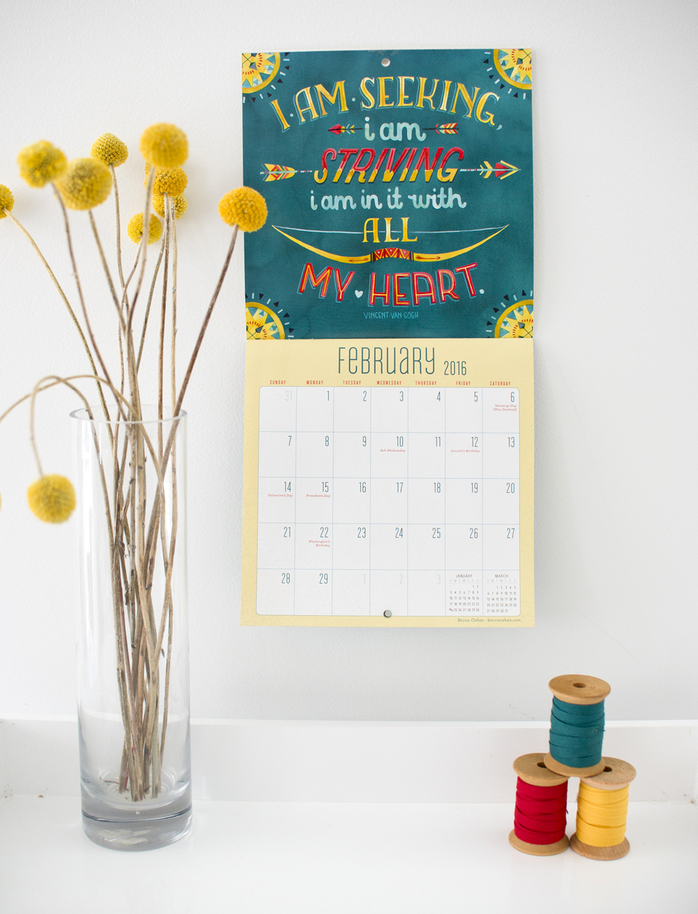 """Today is going to be a great day"" Workman Publishing Mini Calendar- February by Becca Cahan"