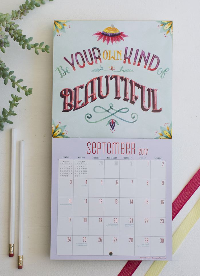 """Today is going to be a great day"" Workman Publishing Mini Calendar- September illustration by Becca Cahan"