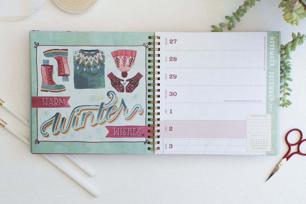 Workman Publishing 2017 Day Planner-Illustration and Photo by Becca Cahan