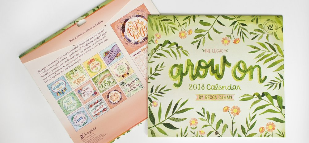 "2018 Legacy Publishing ""Grow On"" Calendar Illustrated by Becca Cahan"