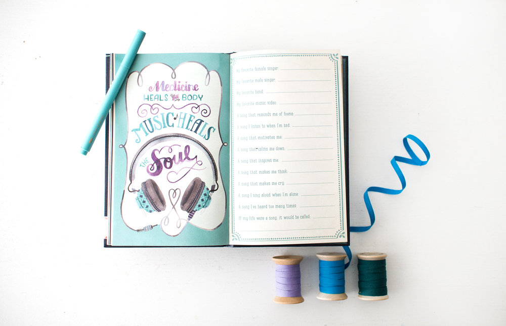 """Be Yourself"" Studio Oh Guided Journal Illustrated by Becca Cahan as seen on Beccacahan.com"