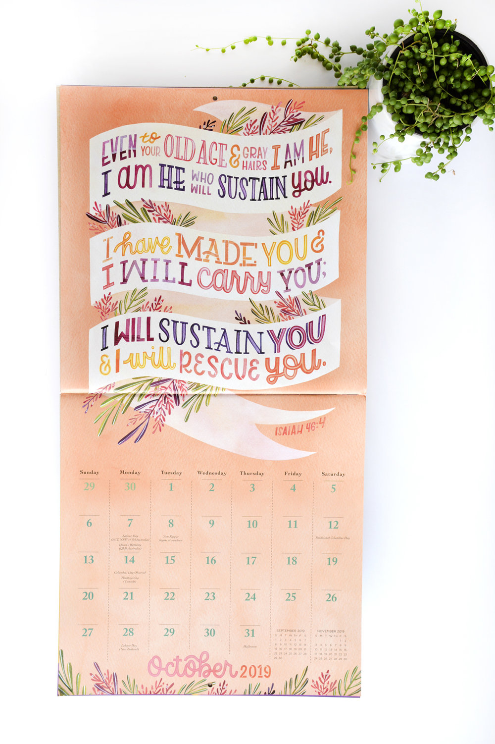 """Illustrated Bible Verses"" Workman Publishing 2019 Calendar // Illustrations by Becca Cahan"