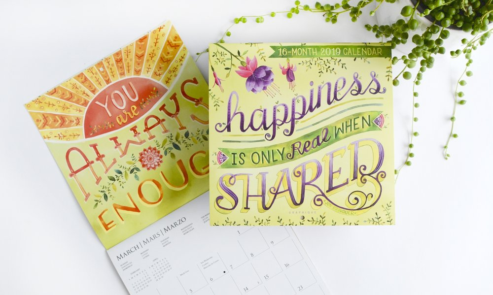 "2019 Graphique De France ""Happiness is Only Real When Shared"" Mini Calendar Illustrated by Becca Cahan"
