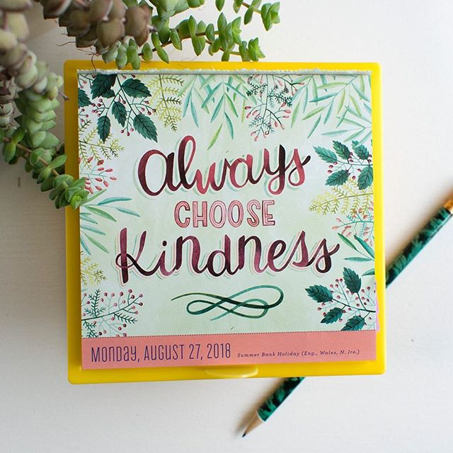 Happy Monday, friends! Here's to a productive week ahead 👊🏻 #BeccaCahan _____ #workmanpublishing #pageaday #todayisgoingtobeagreatday #alwayschoosekindness #watercolorlettering #handlettering #licensingartist #artlicensing