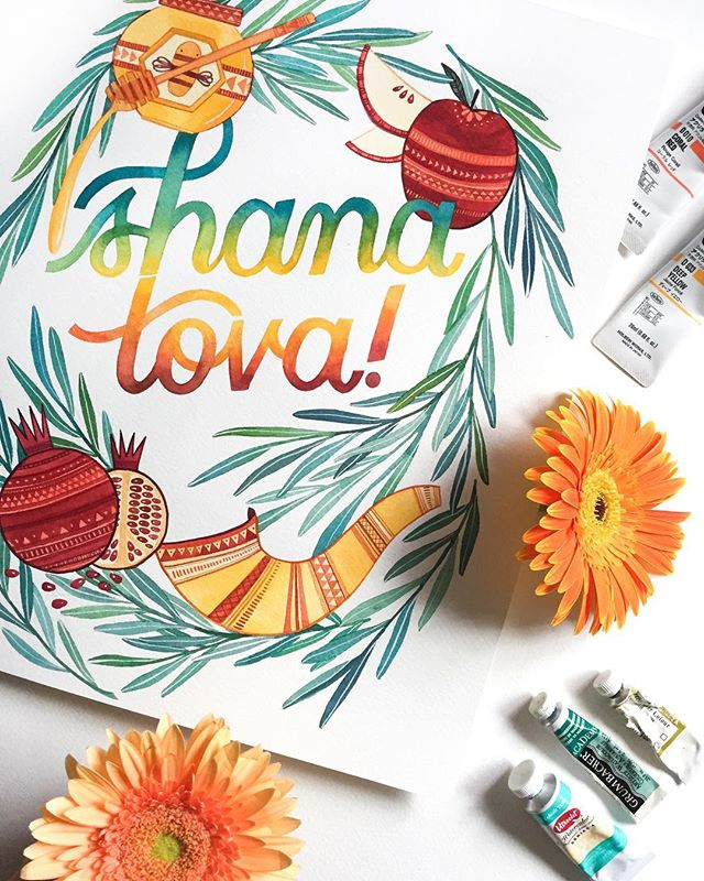 A belated happy Rosh Hashana to anyone who was celebrating earlier this week! Always a good excuse to have some apples and honey 🍎🍯 #BeccasWorkspace ________ #shanatova #lshanatova #roshhashana #watercolorlettering #watercolorflorals #makersmovement #artlicensing #watercolor #greetingcarddesigner