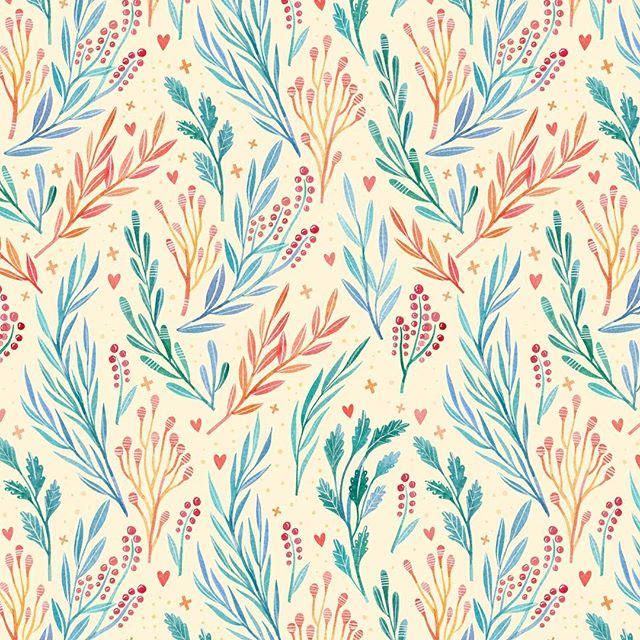 I rarely set aside time to create patterns from my illustrated little bits, but every time I do it has me wanting more! Pulled some elements and made this pattern as an end sheet for an upcoming gift book-they're one of my favorite little surprises about working on book. Once this crazy season is over I'm hoping to set aside some time to focus more on this kind of thing 💛 #BeccaCahan