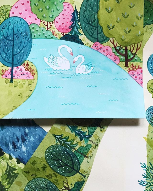 I painted these little swans a month and a half ago and I'm still not over being smitten with them 💕 #BeccasWorkspace  ___ #artlicensing #watercolor #illustration #dscolor #licensingartist #abmlifeiscolorful #calledtobecreative #makersgonnamake #makersmovement