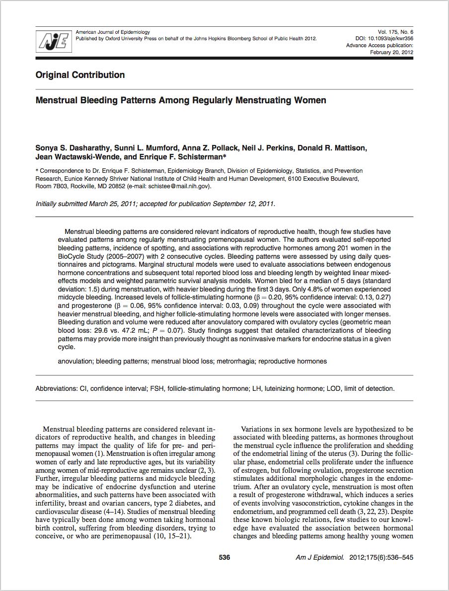 American Journal of Epidemiology,Vol. 175, No. 6, pp. 536-545, February 20, 2012 - Sonya S. Dasharathy, Sunni L. Mumford, Anna Z. Pollack, Neil J. Perkins, Donald R. Mattison, Jean Wactawski-Wende, and Enrique F. Schisterman