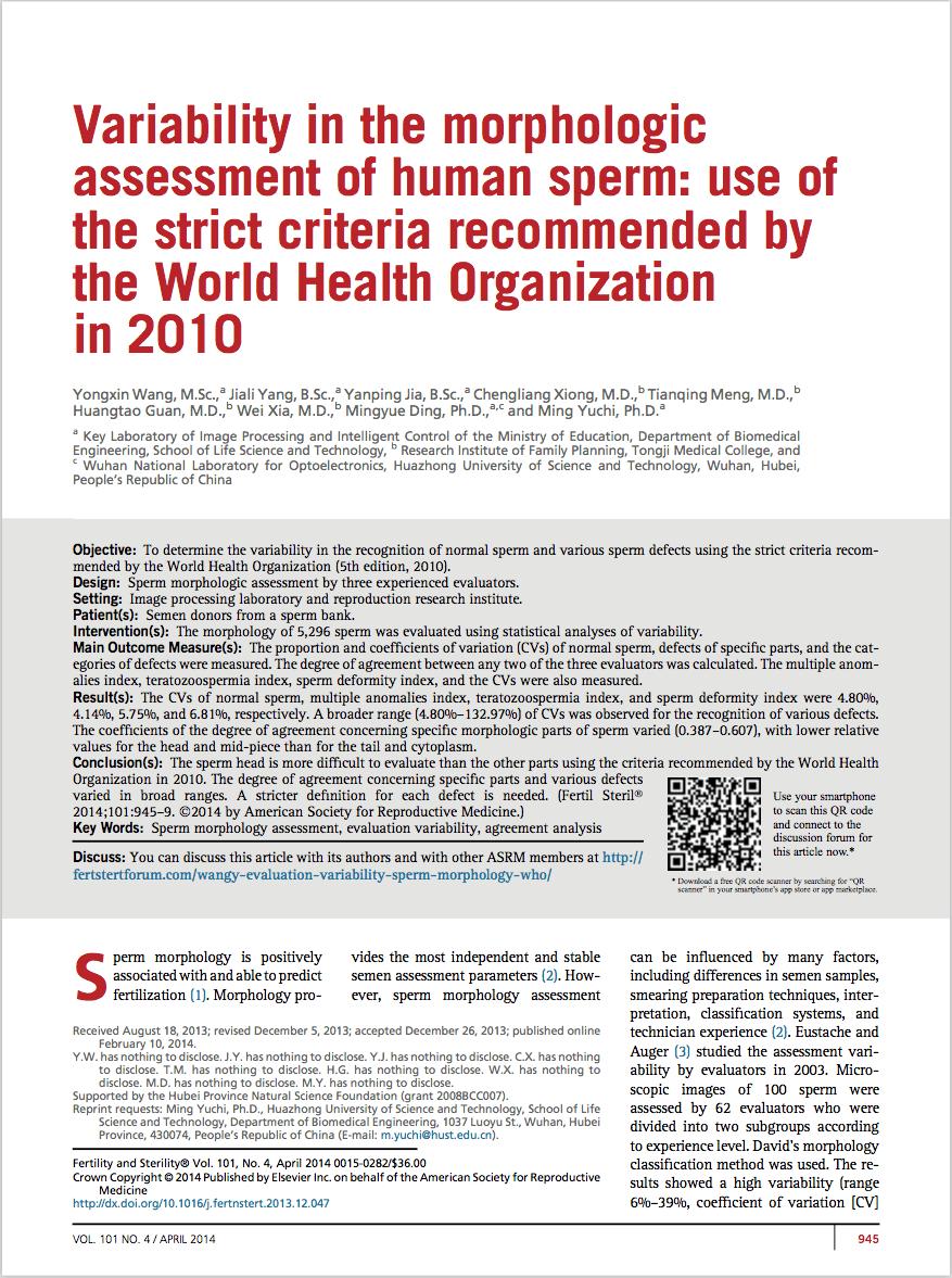 Fertil Steril. 2014 Apr;101(4):945-9. - Wang Y, Yang J, Jia Y, Xiong C, Meng T, Guan H, Xia W, Ding M, Yuchi M.