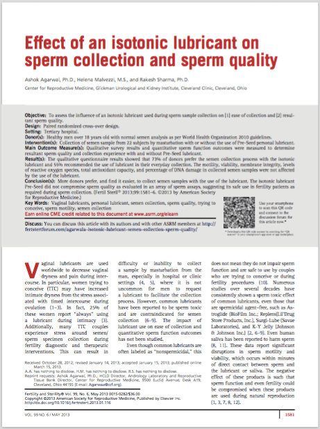 Fertility and Sterility. 2013 May;99(6):1581-1586 - Ashok Agarwal, Ph.D., Helena Malvezzi, M.S., Rakesh Sharma, Ph.D.