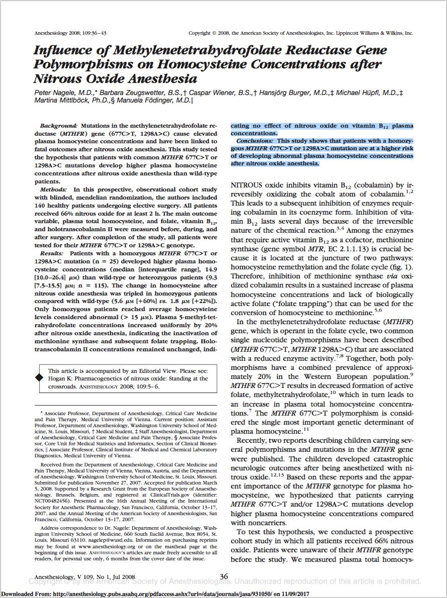 Anesthesiology. 2008 Jul;109(1):36-43. - Nagele P, Zeugswetter B, Wiener C, Burger H, Hüpfl M, Mittlböck M, Födinger M.