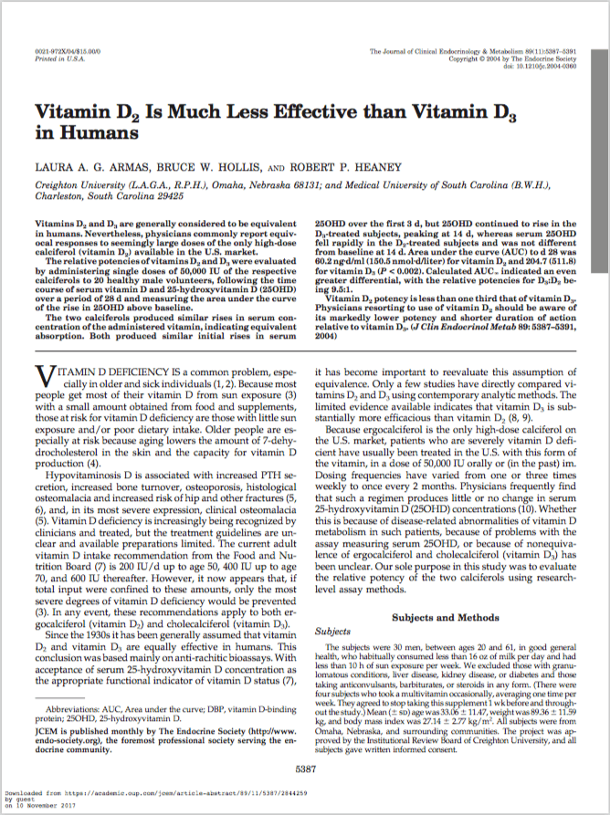 The Journal of Clinical Endocrinology & Metabolism, Volume 89, Issue 11, 1 November 2004, Pages 5387–5391 - Laura A. G. Armas, Bruce W. Hollis, Robert P. Heaney