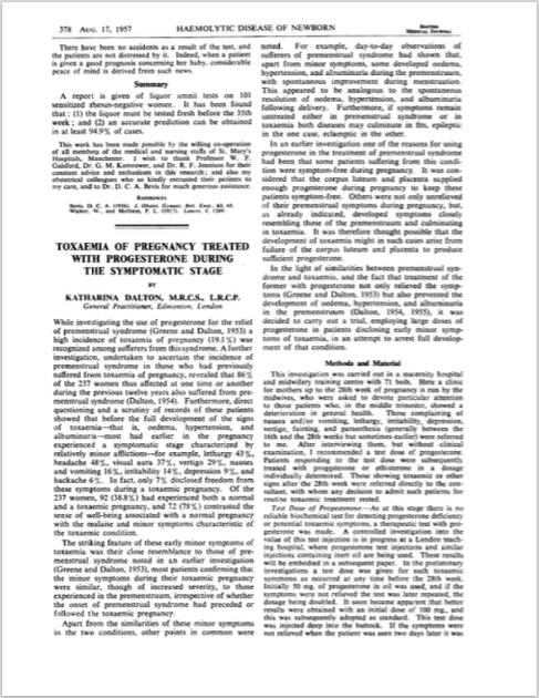 Br Med J. 1957 Aug 17;2(5041):378-81. - Dalton K.