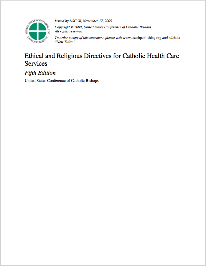 United States Conference of Catholic Bishops, 2001, issued November, 2009 -