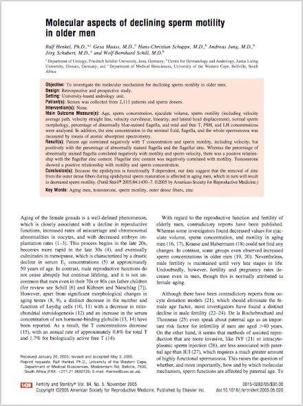 Fertil Steril. 2005 Nov;84(5):1430-7. - Henkel R, Maass G, Schuppe HC, Jung A, Schubert J, Schill WB.