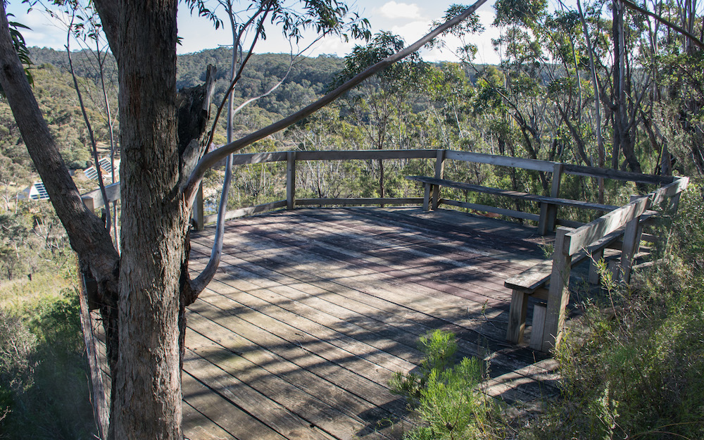 A 5 minute walk up a trail to a viewing platform overlooking the property