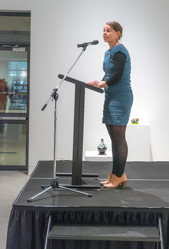 Exhibitions Manager Sabrina Roesner opens the Exhibition