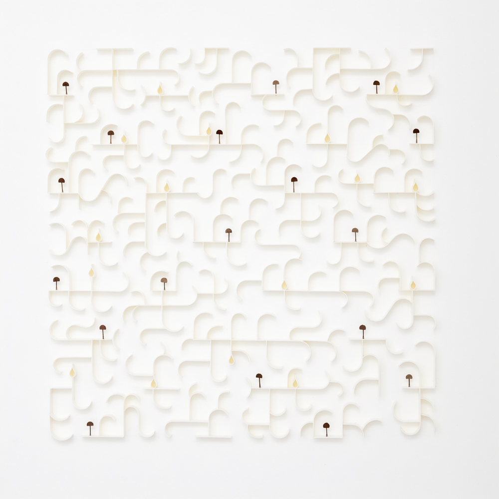 'The Language of Trees Verse VIII' Paper, Gum nuts, straw 44cm x 44cm Photography by Graeme Wienand