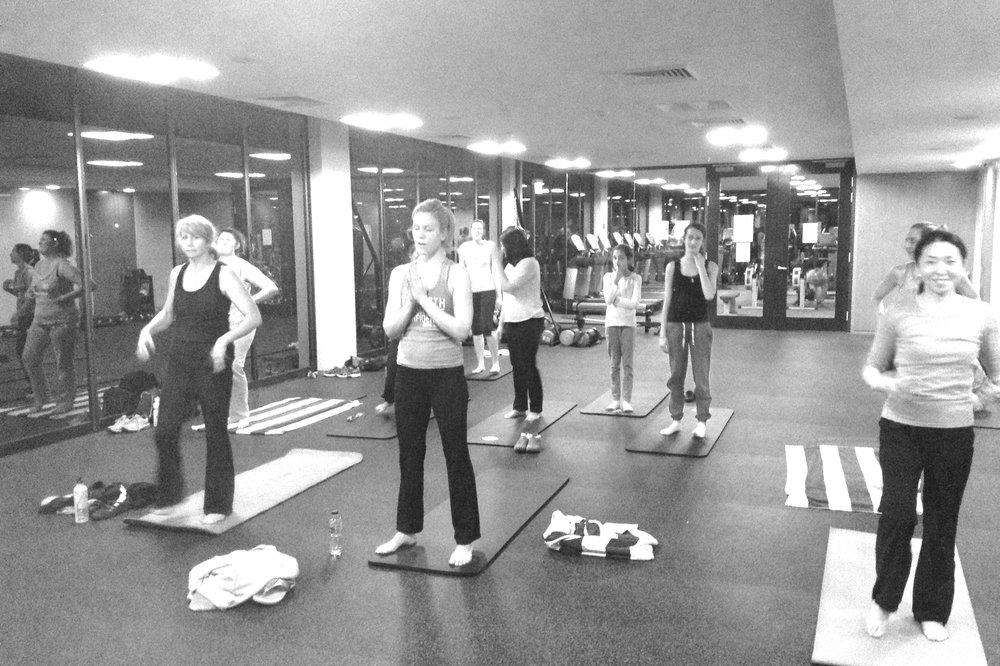 Performing a yoga class for Harrington Grove