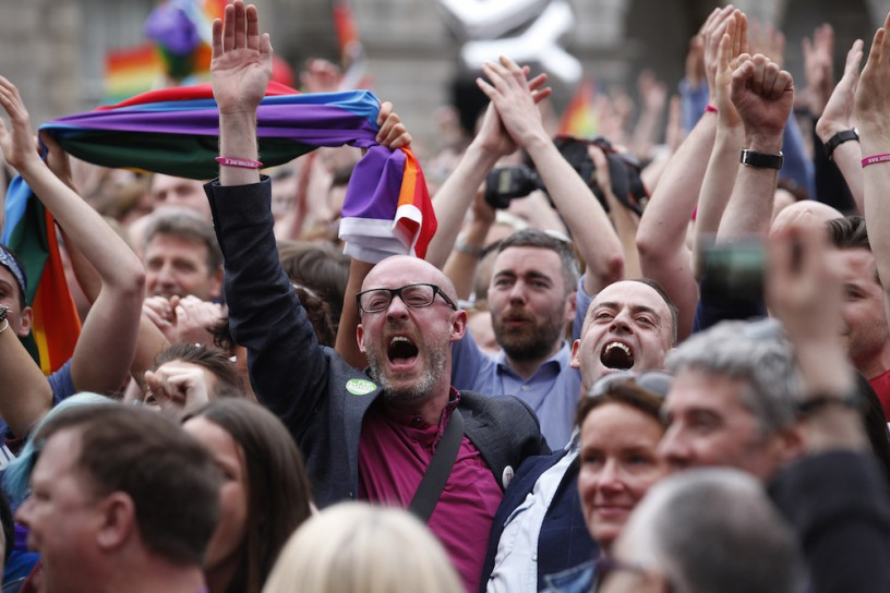 The crowd celebrating at Dublin Castle. Photo via AP.