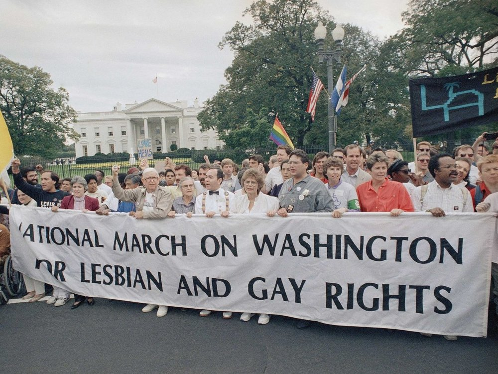 A photo from the 1987 March on Washington for Lesbian & Gay Rights.