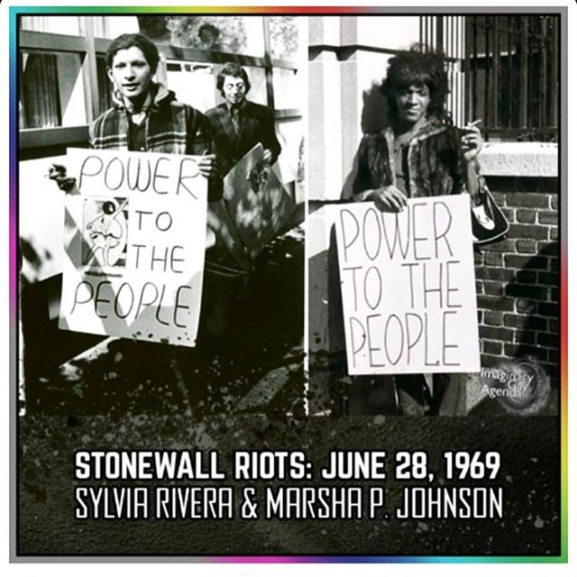 STONEWALL: Remember the work and life of Sylvia Rivera and Marsha P. Johnson today and always. 🙌🏽💜49 years ago a group of queer folx led by Black and Brown trans women, dykes, and femmes led the uprising to fight back against police brutality. Their work directly shaped the way we celebrate pride today. Their lives changed ours. Pride is so much more than a corporate celebration or reason to take the weekend off and drink —it's about our rights as human beings in the eyes of the world. Our right to exist. Our right to live and love openly. Our right to be happy. Our right. We must continue to speak up for ourselves and our communities. We must use our voices and our bodies to fight back against the oppression and marginalization of others. Our revolution must be intersectional. It must be intentional. It must honor those who came before and paved the way for the rights & freedoms that we have now. Those rights and freedoms are at stake right now. Speak up. Act up. Remember. #stonewall #49years #knowyourherstory #sylviarivera #marshapjohnson #stonewallriots #june281969 #june28th #visibility #community #herstory #knowyourworth #knowyourpast #honoryourancestors #transisbeautiful #queerpride #transpride #lgbtqia #hope #resist #powertothepeople #🏳️‍🌈 #riseup #outoftheclosetintothestreets