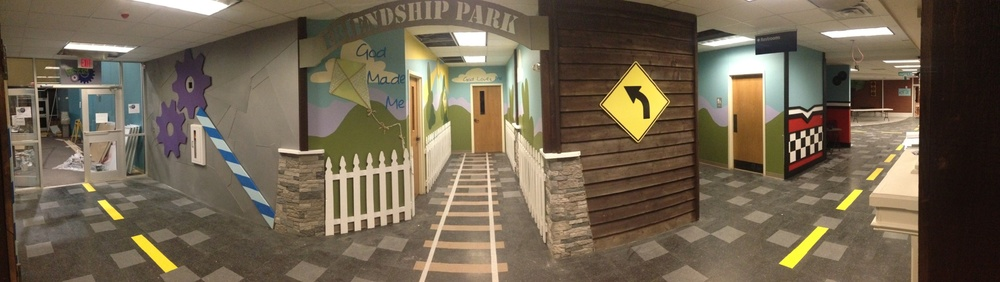 a panoramic of a few of the hallways
