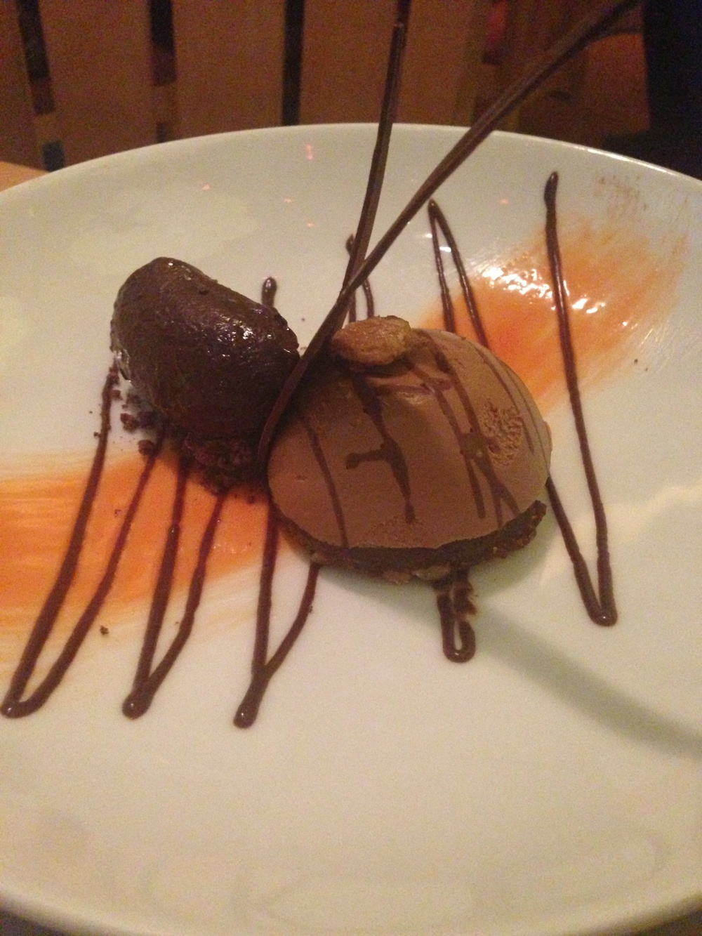 You're never too full for chocolate. This was far superior to the trio.