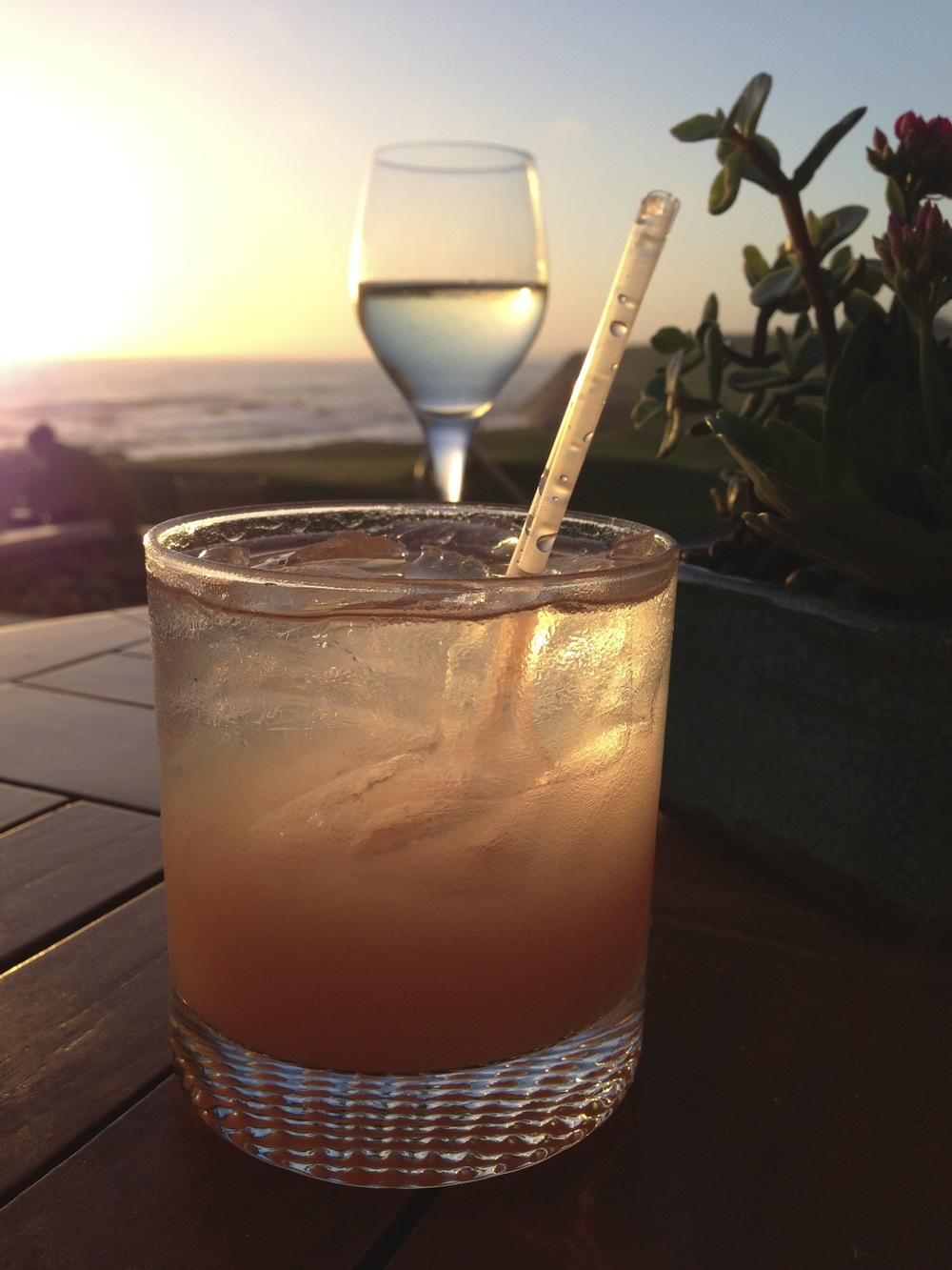 Speaking of trying something new, this was my first Greyhound. It's quite yummy. This was the view from the bar at the Ritz Carlton Half Moon Bay.