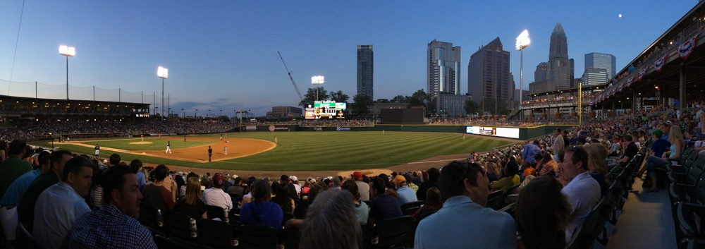 Dusk view from our seats at BB&T Ballpark in Charlotte, NC.