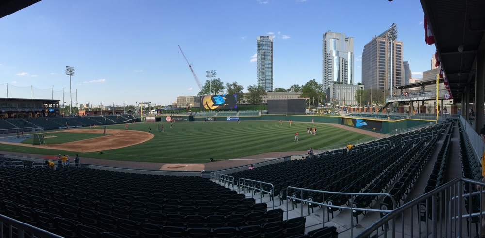 Amazing view of the Charlotte skyline from the concourse.