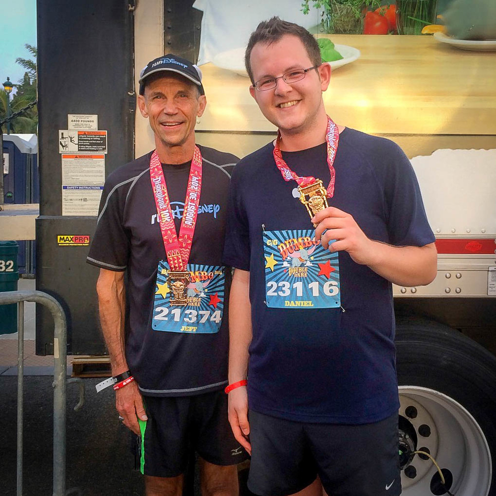Jeff Galloway and I at the finish line of the Disneyland 10K in August 2014.