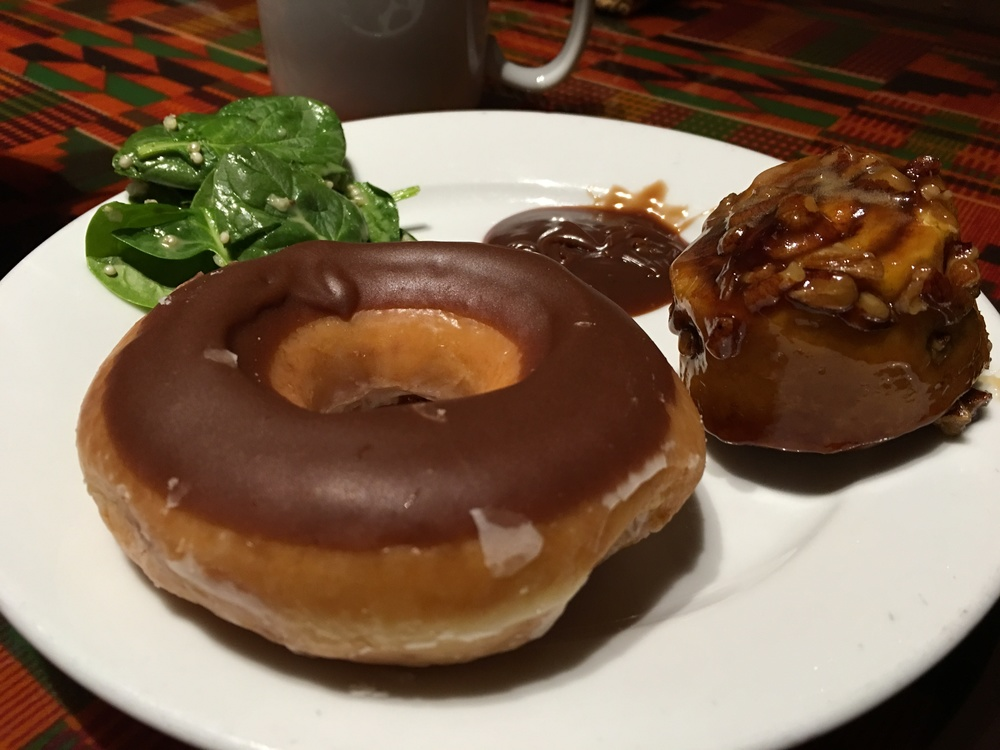 Chocolate donuts and African hazelnut spread, also known as Nutella!