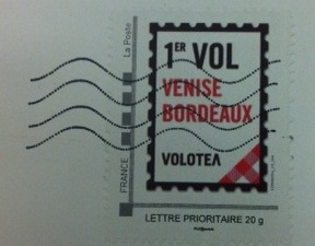 Volotea route inauguration stamp, Bordeaux (France)