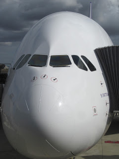 A frontal view of the A380