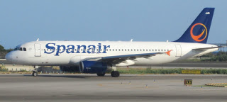A Spanair A320 on the tarmac at Barcelona airport