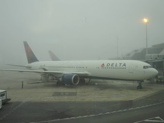 Delta Airlines aircraft at Barcelona airport