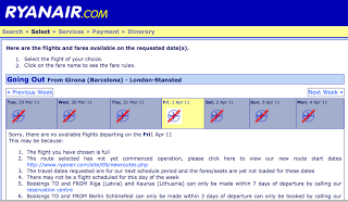 Ryanair booking page