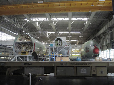 The A380's fuselage sections are assembled in Toulouse...