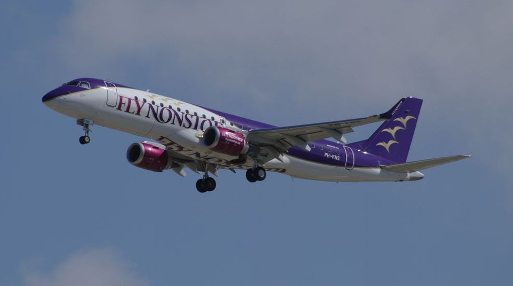A Flynonstop Embraer E190 landing at Barcelona airport
