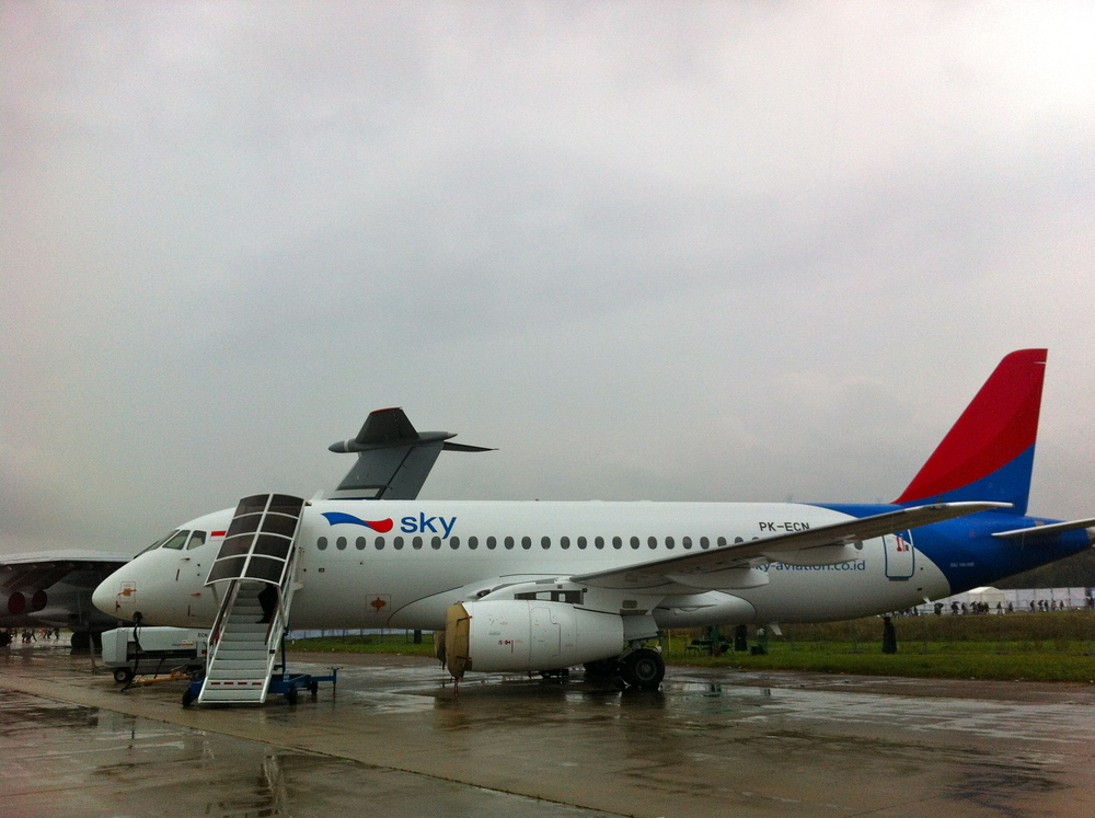 A Sukhoi Superjet SSJ100 of Indonesian airline Sky Aviation, on display at MAKS 2013