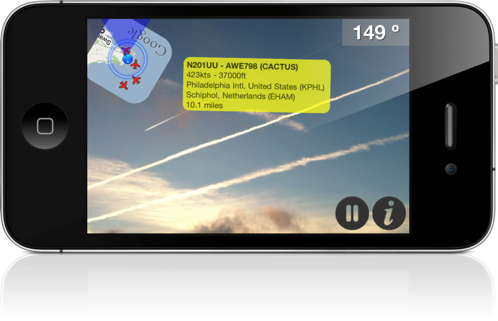 An example of augmented reality (AR) applied to flight tracking