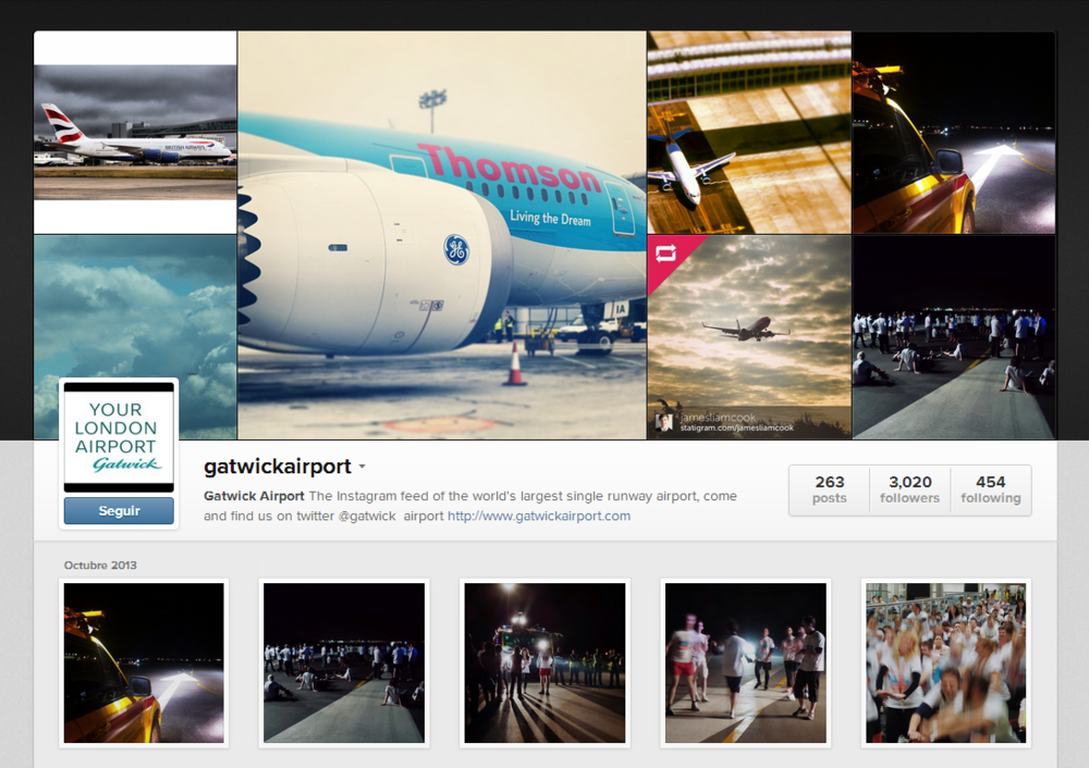 A snapshot of Gatwick's Instagram account