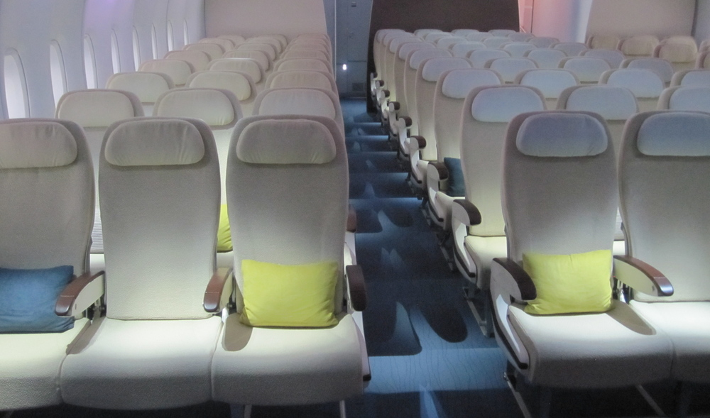 An economy class cabin mock-up