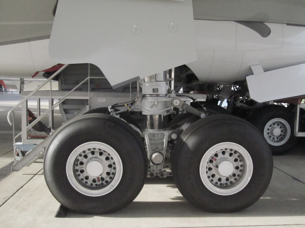A close-up of the A380 landing gear