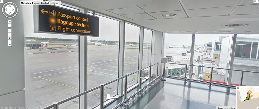 Inside one of London Gatwick's terminals with Google Street View