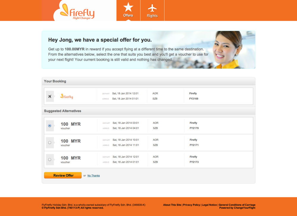 Passengers of Malaysian carrier Firefly are already using Changeyourflight's technology