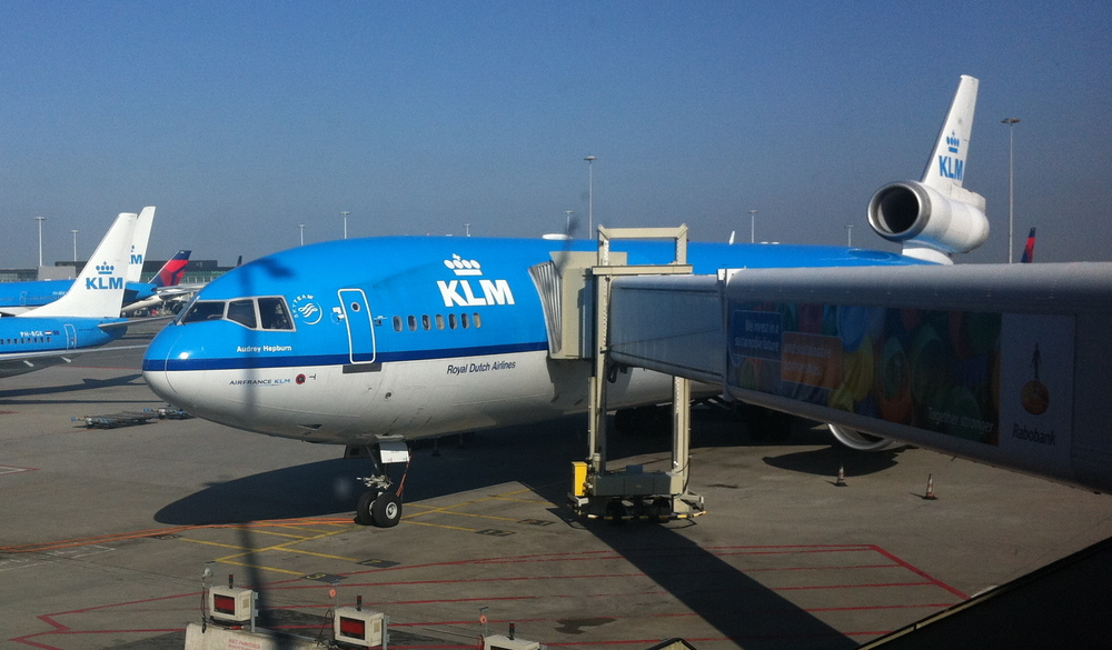 A closer view of the KLM MD-11 that flew us from San Francisco, here at Amsterdam Schiphol airport shortly after landing