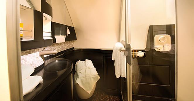The bathroom at Etihad's The Residence