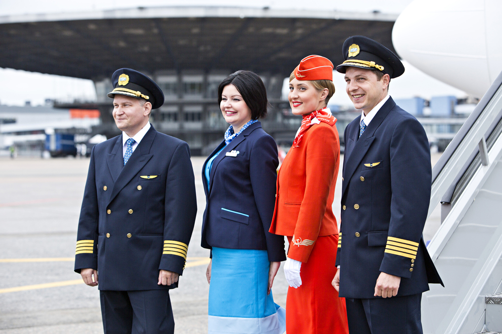 Dobrolet (blue) and Aeroflot (red) uniforms. Dobrolet is part of the Aeroflot Group. Picture: Aeroflot